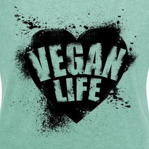 vegan life illustration - Frauen T-Shirt mit gerollten Ärmeln