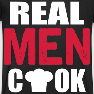 real men cook T-shirts - T-shirt med v-ringning herr