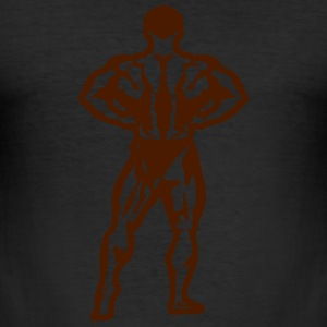 bodybuilder pose dos debout 1506 Tee shirts - Tee shirt près du corps Homme