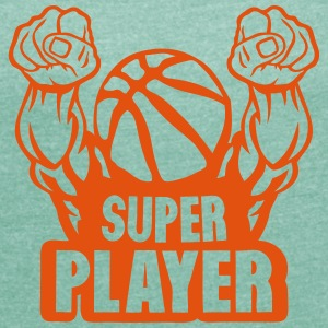 basketball super play muscular arm flight T-Shirts - Women's T-shirt with rolled up sleeves
