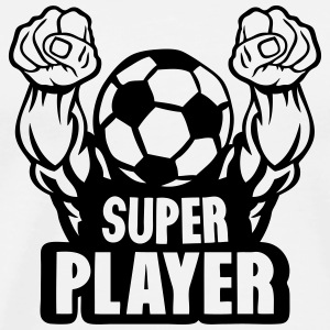 football soccer super play muscular arm T-Shirts - Men's Premium T-Shirt