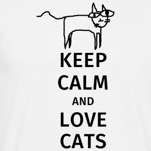 keep calm and love cats T-skjorter - T-skjorte for menn