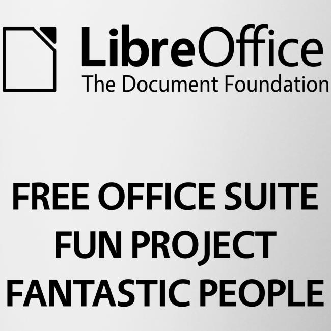 LibreOffice mug with slogan