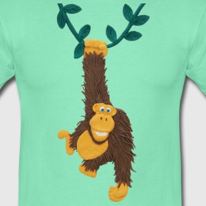 Funny gorilla or monkey swinging on jungle vine - Men's T-Shirt