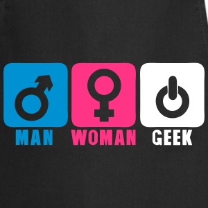 man woman geek logo symbol 206  Aprons - Cooking Apron