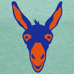 Animal head donkey 106 T-Shirts - Women's T-shirt with rolled up sleeves