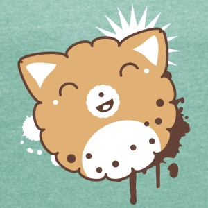 Kawaii Cookie T-Shirts - Frauen T-Shirt mit gerollten Ärmeln