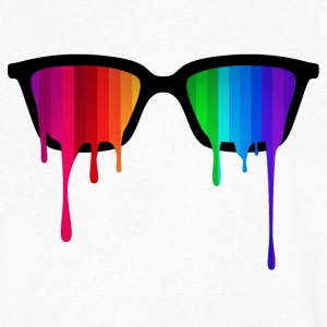 Rainbow - Spectrum (Pride) / Hipster Nerd Glasses T-Shirts - Men's V-Neck T-Shirt