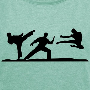 Martial Arts - 3 Fighters T-shirts - Dame T-shirt med rulleærmer