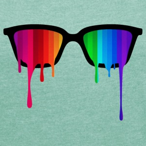 Rainbow - Spectrum (Pride) / Hipster Nerd Glasses T-Shirts - Women's T-shirt with rolled up sleeves