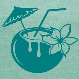 Coconut milk cocktail with flower T-Shirts - Women's T-shirt with rolled up sleeves
