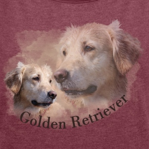 Golden Retriever Shirt - Frauen T-Shirt mit gerollten Ärmeln