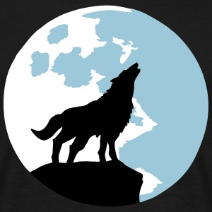 wolf and full moon Tee shirts - T-shirt Homme