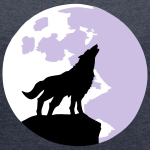 wolf and full moon Tee shirts - T-shirt Femme à manches retroussées