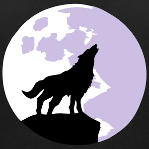 wolf and full moon Camisetas - Camiseta con escote en pico mujer