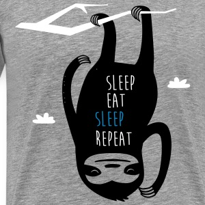 Gråmelerad Sleep Eat Sleep Repeat Sloth T-shirts - Premium-T-shirt herr