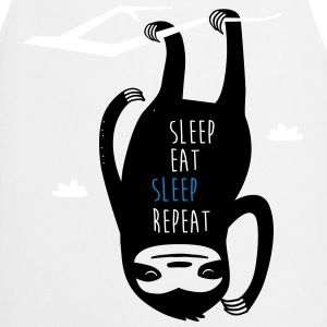 Vit Sleep Eat Sleep Repeat Sloth Förkläden - Förkläde