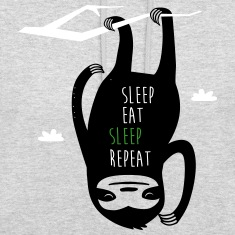 Heather grey Sleep Eat Sleep Repeat Sloth Hoodies & Sweatshirts