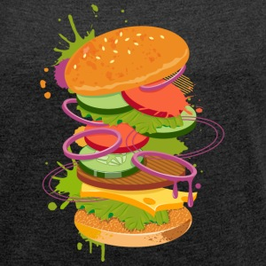 A Burger Graffiti T-Shirts - Women's T-shirt with rolled up sleeves