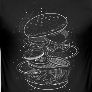 Burger Design made of white contours and stars T-Shirts - Men's Slim Fit T-Shirt