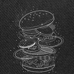 Burger Design made of white contours and stars Caps & Hats - Snapback Cap