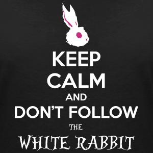 White Rabbit Keep Calm wonderland alice paese - Maglietta da donna scollo a V