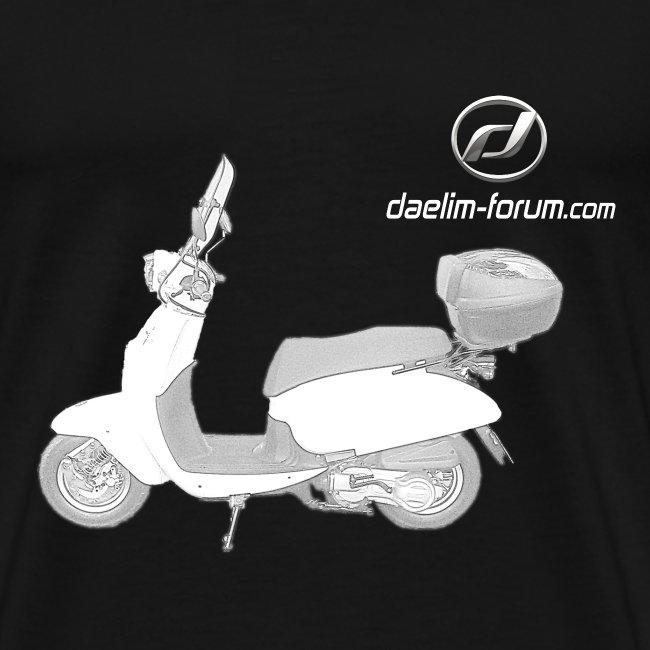 Daelim Besbi Modell-Zeichnung + Vogel Fläche auf TShirt (mit Logo und Forum-URL)  und Vogel Fläche auf Rücken