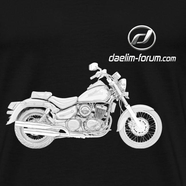 Daelim Daystar Modell-Zeichnung + Vogel Fläche auf TShirt (und Logo und Forum URL) und Vogel Fläche auf Rücken