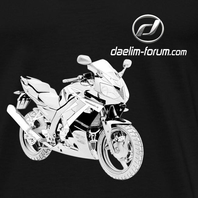 Daelim Roadwin Modell-Zeichnung + Vogel Fäche auf TShirt (mit Logo und Forum-URL) und Vogel Fläche auf Rücken