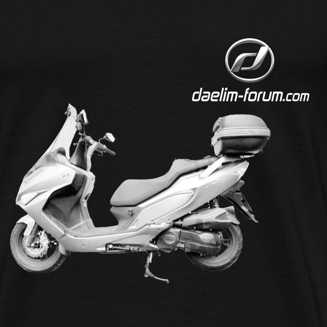 Daelim S3 Modell-Zeichnung + Vogel Fläche auf TShirt (mit Logo und Forum-URL) und Vogel Fläche auf Rücken