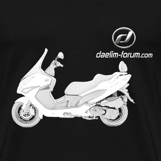 Daelim S300 Modell-Zeichnung + Vogel Umriss auf TShirt (mit Logo und Forum-URL) und Vogel Umriss auf Rücken