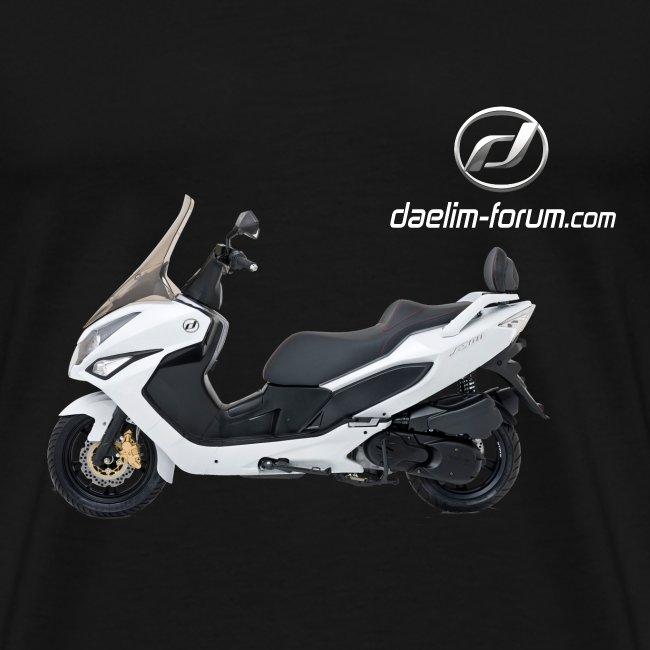 Daelim S300 + Vogel Fläche auf TShirt (mit Logo und Forum-URL) und Vogel Fläche auf Rücken