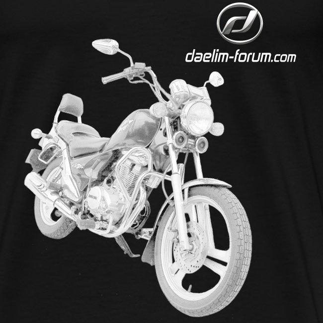 Daelim VS Modell-Zeichnung + Vogel Fläche auf TShirt (mit Logo und Forum-URL) und Vogel Fläche auf Rücken
