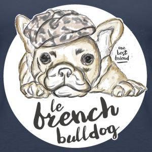 Navy French Bulldog Tops - Vrouwen Premium tank top