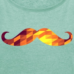 Moustache (Geometric Background) T-shirts - Vrouwen T-shirt met opgerolde mouwen