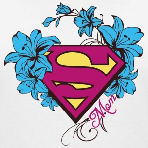 Superman Super Mom Flowers Pink - T-shirt med v-ringning dam