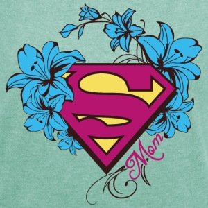 Superman Super Mom Flowers Pink - Frauen T-Shirt mit gerollten Ärmeln