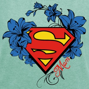 Superman Super Mom Flowers Red - T-shirt med upprullade ärmar dam