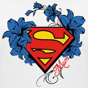 Superman Super Mom Flowers Red Frauen T-Shirt - T-shirt col V Femme
