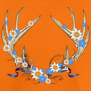 Deer antlers with gentian and edelweiss Shirts - Teenage Premium T-Shirt