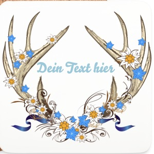 Deer antlers with gentian and edelweiss Mugs & Drinkware - Coasters (set of 4)