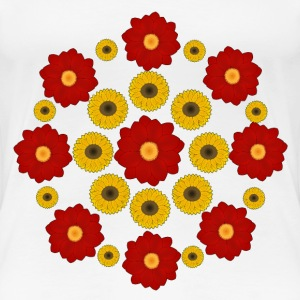 Flowers red and yellow T-shirts - Dame premium T-shirt