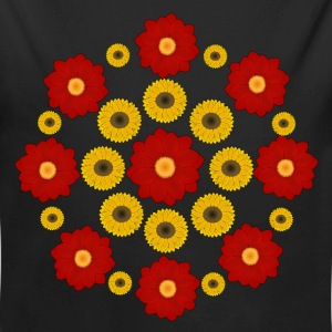 Flowers red and yellow Babybody - Økologisk langermet baby-body