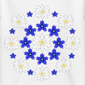 Flowers white and blue T-shirts - T-shirt barn