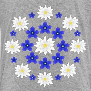 Flowers white and blue T-shirts - Teenager premium T-shirt