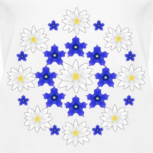 Flowers white and blue Topy - Tank top damski Premium