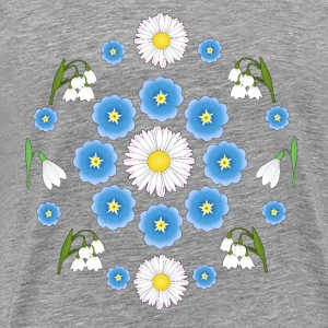 Flowers blue white white T-shirts - Herre premium T-shirt