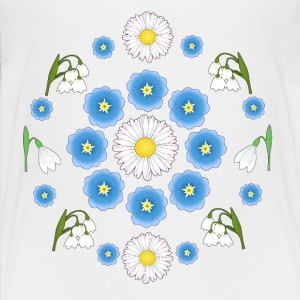 Flowers blue white white T-shirts - Teenager premium T-shirt