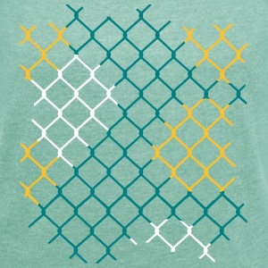 colorful chain-link fence T-Shirts - Women's T-shirt with rolled up sleeves