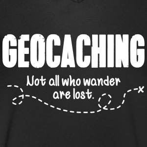 Geocaching - not all who wander are lost T-shirts - T-shirt med v-ringning herr